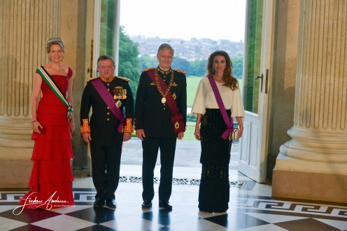 State visit of King Abdullah II and Queen Rania Al Abdullah of the Hashemite Kingdom of Jordan in Belgium The Belgian sovereigns offered a Gala Dinner in the Royal Castle of Laeken in honor of the Jordanian sovereign Brussels, 18 May 2016 Belgium Brussels, 18 May 2016, Belgium