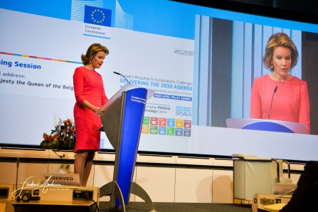 Queen Mathilde during the opening speech in the European Commission during the High Level Policy Summit. Brussels, 20 december 2016, Belgium