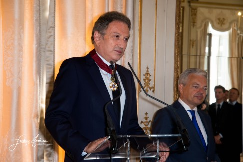 """Michel Drucker speach at the ceremony who he was awarded at the title of Commander of the Order of the Crowne at the Palace Egmont"""" at Brussels, 2014 in Brussels, Belgium."""