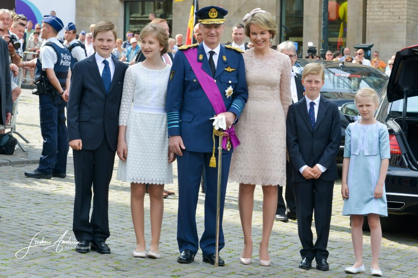 King Philippe Queen Mathilde Prins and Princess Elisabeth, Gabriel, Emmanuel, Eleonore during Mass Te Deum on the occasion of the Belgian national holiday. The rulers and their children were to meet the people after mass. Brussels, 21 July 2016 Belgium