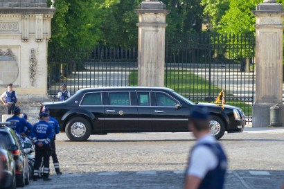 """Brussels 24 May 2017, Belgium. Visit of the US President Donald Trump and his wife Melania Trump in Brussels. """"The beast"""" car of President during the transfer between royal Palace and the US Embassy copyright: F.Andrieu/AgencePeps/Reporters"""