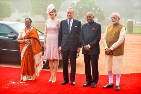 Queen Mathilde and King Philippe during the State Visit in India New Delhi - Mumbai , 5 to 11 November 2017, India F. Andrieu / Agencepeps La Reine Mathilde et le Roi Philippe durand la visite d'Etat en Inde New Delhi Mumbai , 5 au 11 novembre 2017, Ind