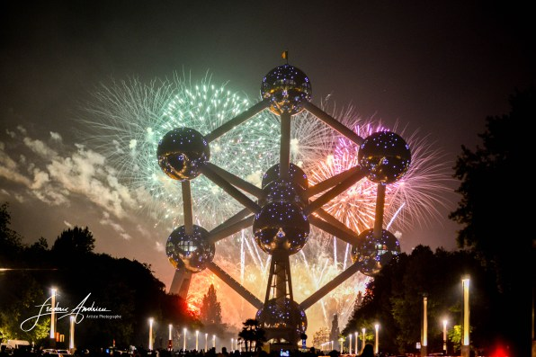 Fireworks at the Atomium who was created for the World Exhibtion of 1958 and celebrates its 60th anniversary, during this summer stay the Fireworks Festival of Laeken.the 03 august 2018, Brussels, BelgiumF. Andrieu / Agencepeps / ReportersFeux d'artif