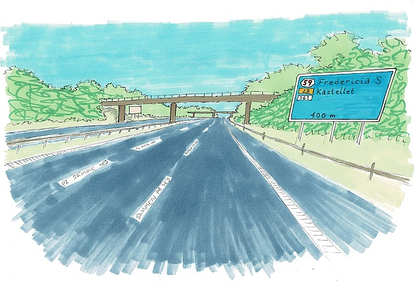 Maleri af motorvejsafkørsel mod Fredericia, lavet af Christina Ebbesen
