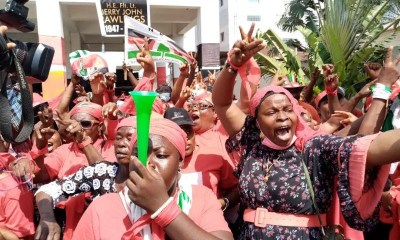"NDC women supporters protest in Greater Accra Region against the 2020 presidential results in what they call a ""stolen verdict"" for President-Elect, Nana Akufo-Addo"