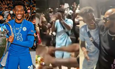 , Callum Hudson Odoi visit's Ghana; dances Adowa as King Promise welcomes him at the Airport, Frederick Nuetei