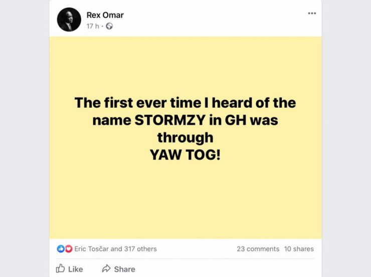 """, """"The first-ever time I heard of the name STORMZY in GH was through YAW TOG"""". – Rex Omar, Frederick Nuetei"""