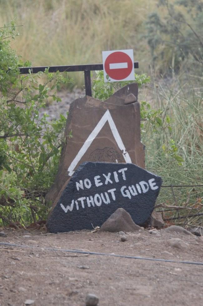 Warning sign in Namibia