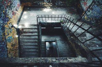 Trappen in de ruine Parc des Oblats