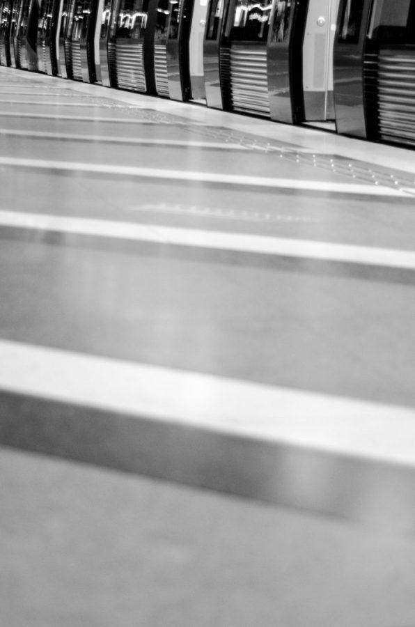 Kunstradgarden subway platform lines - Stockholm, Sweden