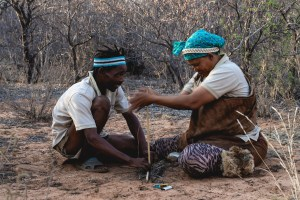 Learning how to make fire in Botswana