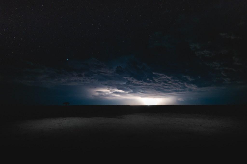 Makgadigadik Saltpans thunderstorm in Botswana