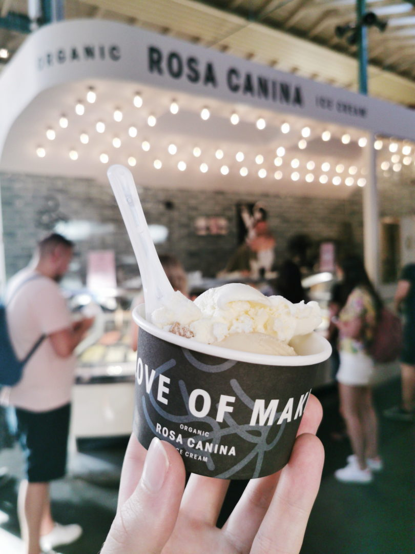 Eating ice cream at Rosa Canina