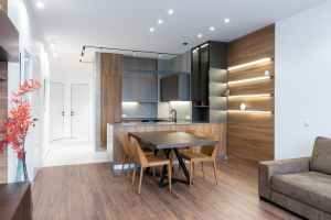 interior of stylish apartment with kitchen