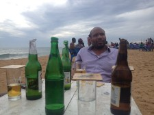 drinks, beach and the border of Ghana behind me