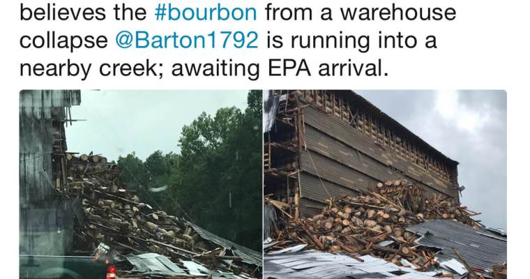 1940s bourbon warehouse collapses; 1792 Open for Tours