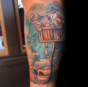 amazing-calvin-and-hobbes-in-tree-fort-mens-arm-tattoo