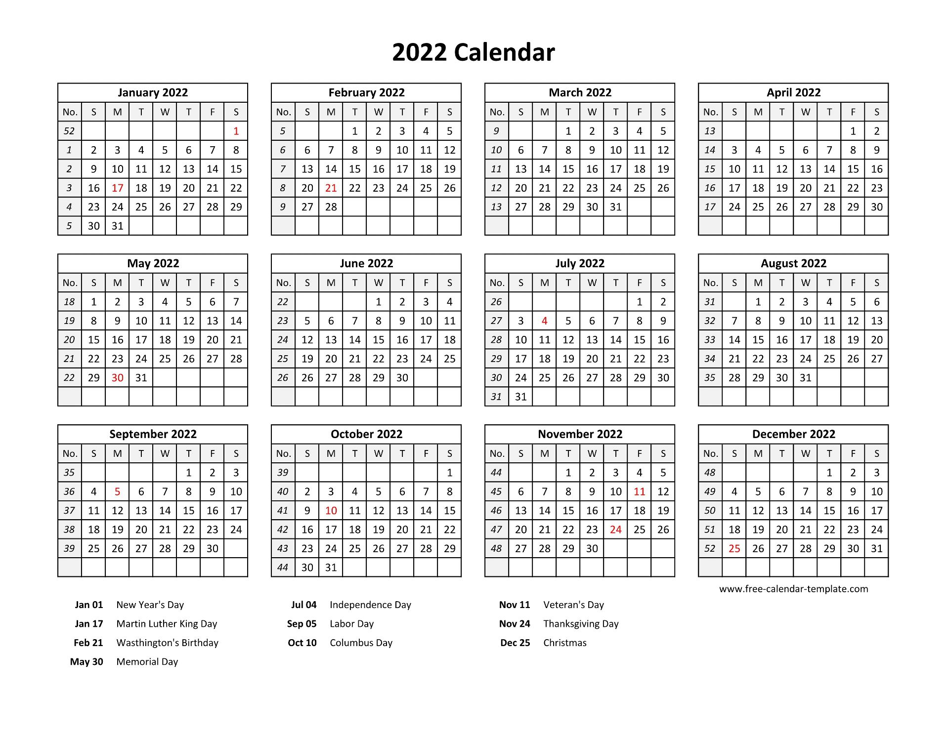 2022 yearly calendar template ready to print. Printable yearly calendar 2022 with US holidays | Free ...