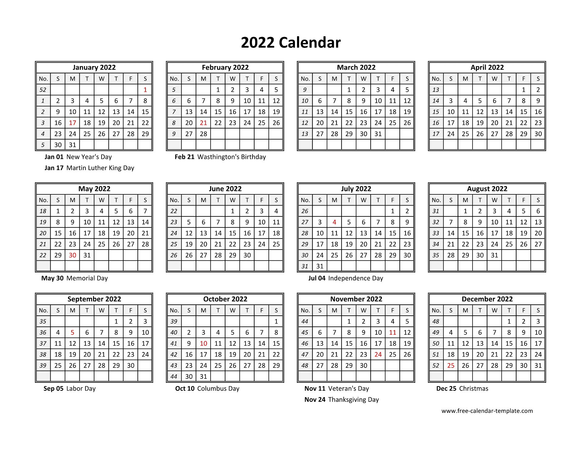 Download free printable 2022 yearly calendar template to make a plan for an entire year. Yearly calendar 2022 printable with federal holidays ...