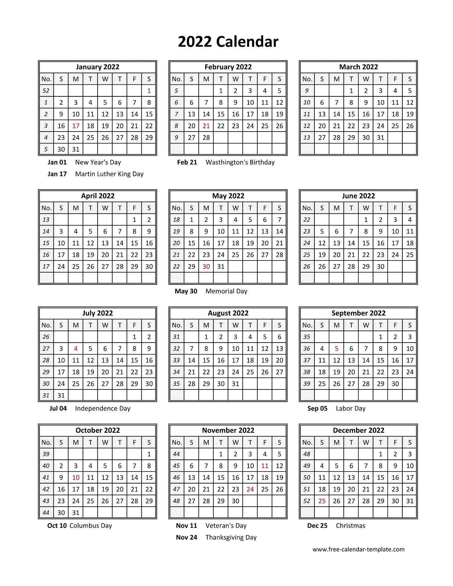 Portrait on one page in easy to print pdf format. Yearly printable calendar 2022 with holidays | Free ...