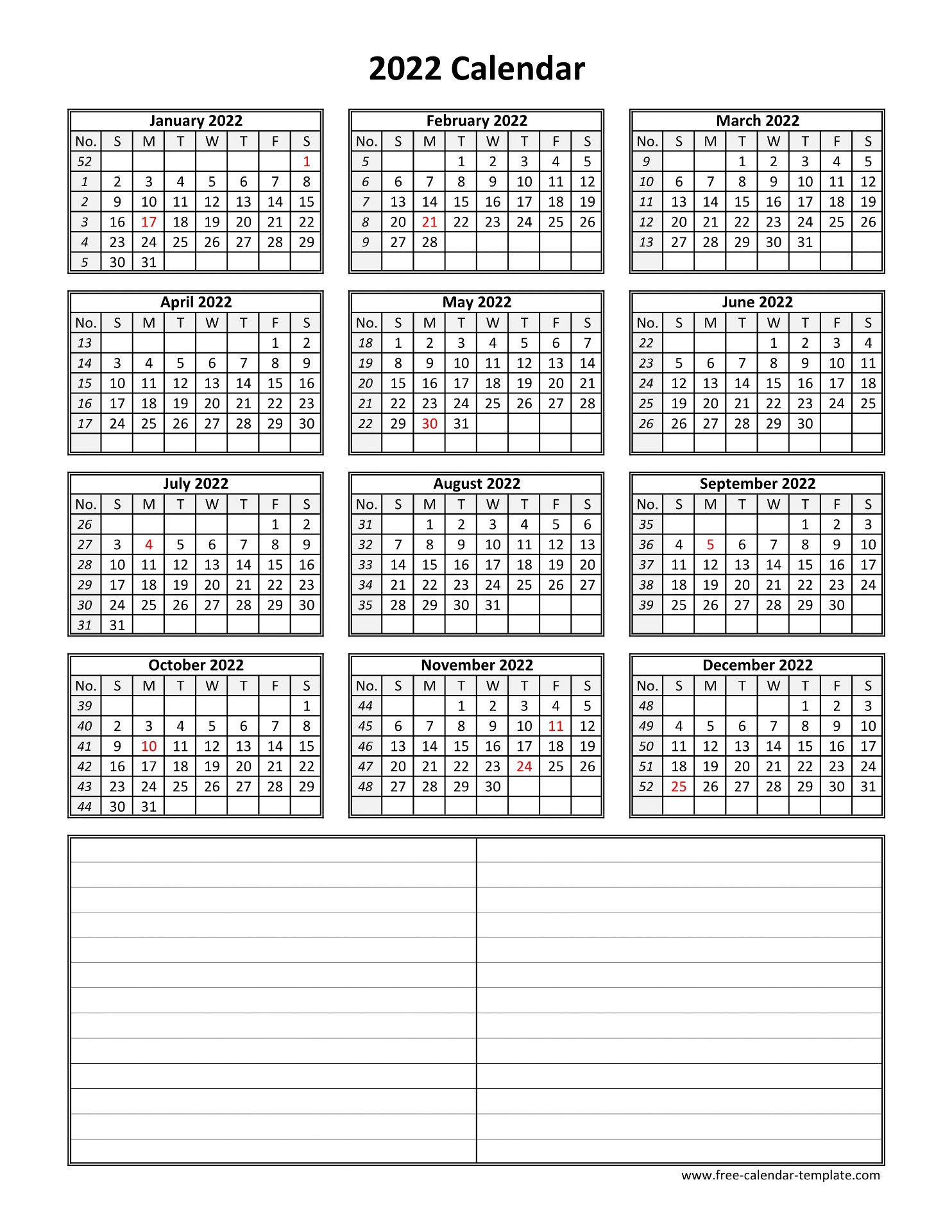Download free printable calendar for 2022. Yearly 2022 printable calendar with space for notes | Free ...