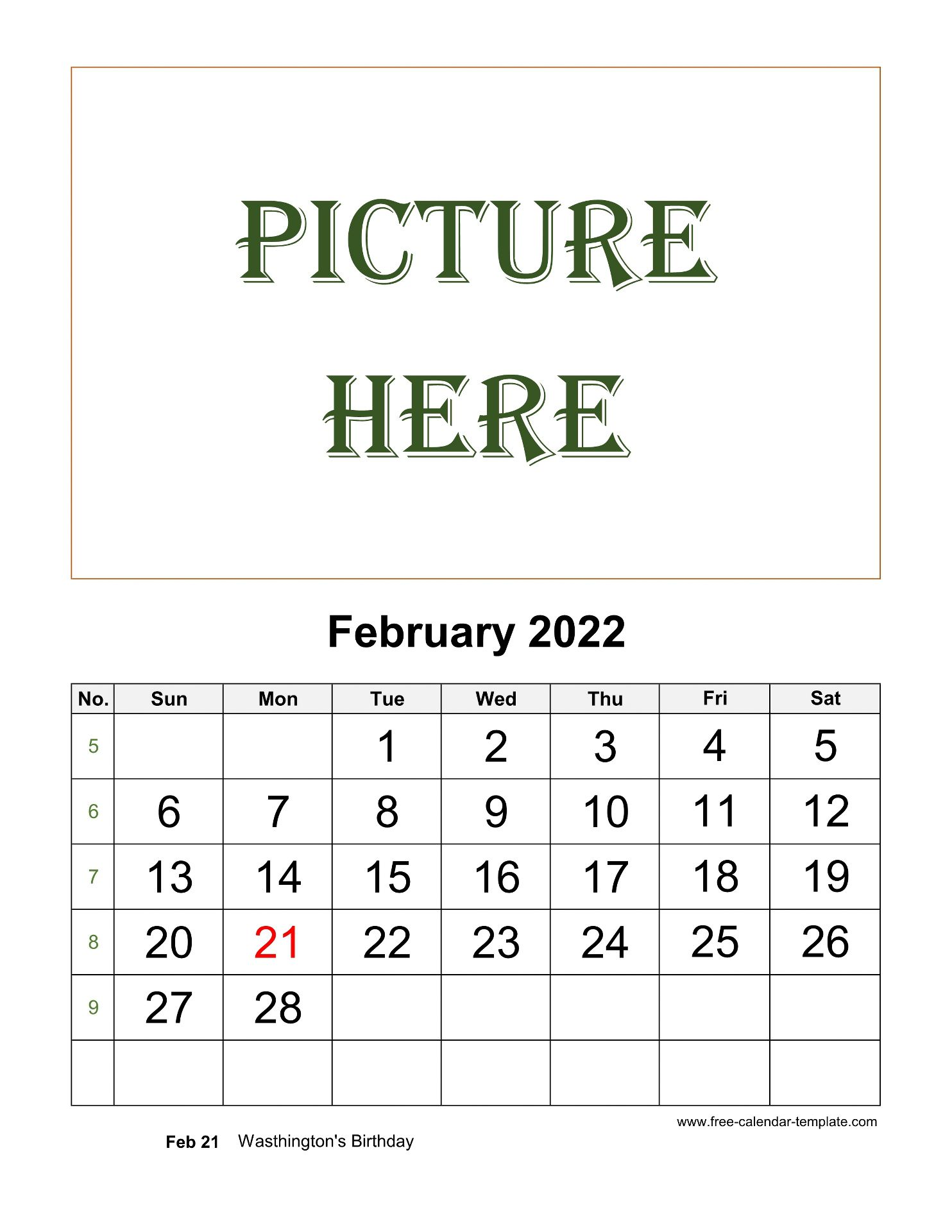 Remembering bill due dates is easy with a system for noting what needs to be paid and whether you've done with these free printable bill calendars. February Printable 2022 Calendar, space for add picture ...