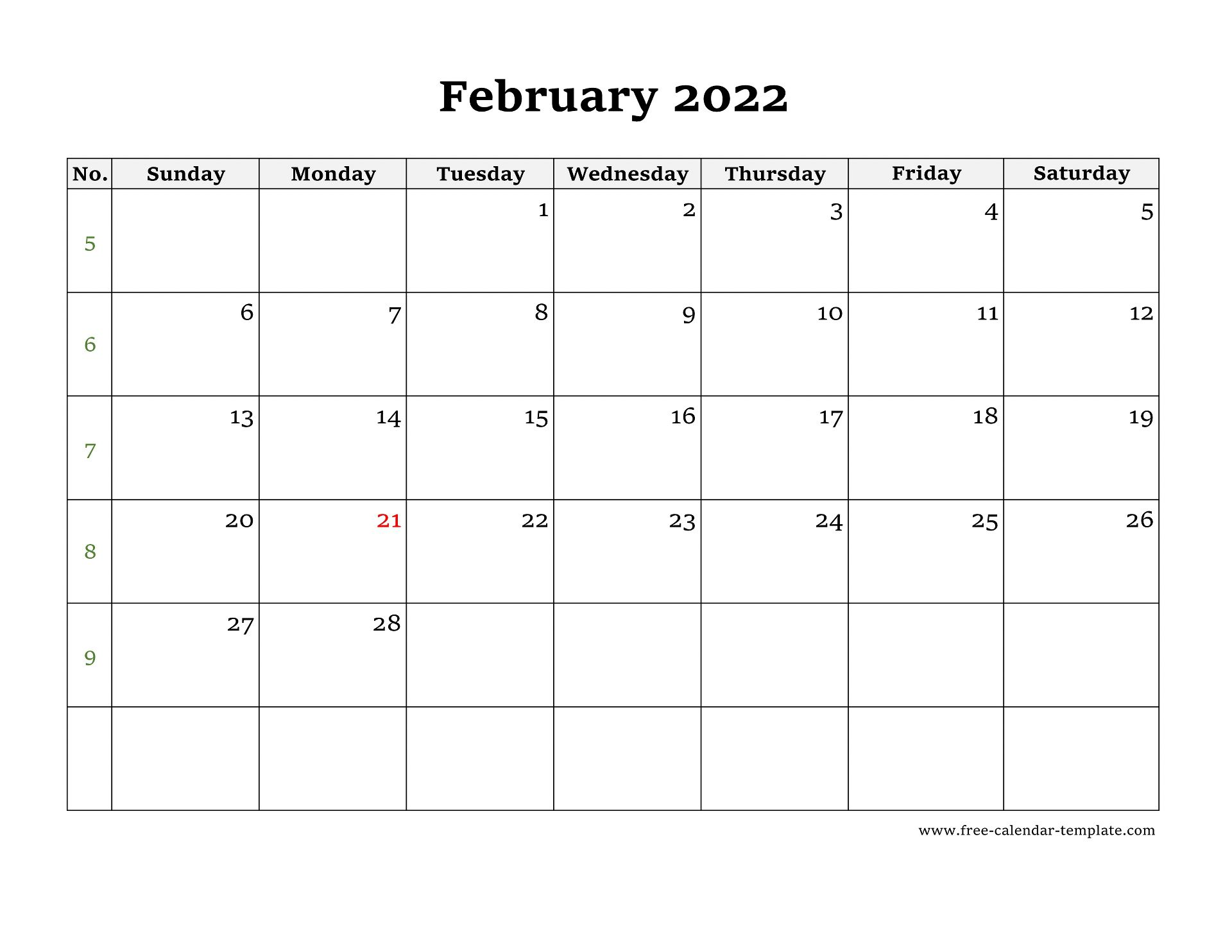 Sure, digital calendars are convenient — we can take them everyw. Simple February Calendar 2022 large box on each day for ...
