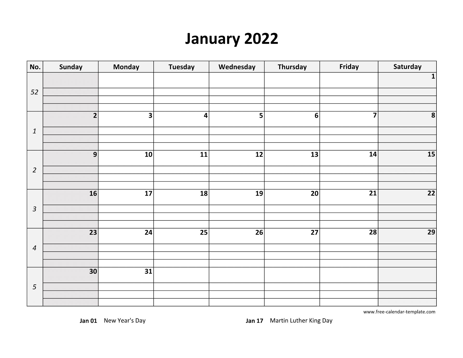 Planning for the future can be a difficult and stressful process. January 2022 Calendar Free Printable with grid lines ...