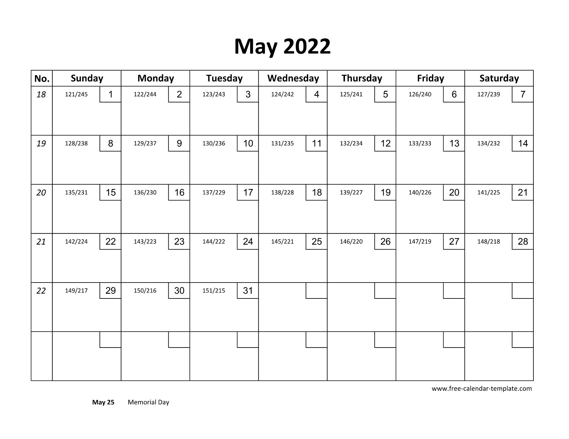 You can also customize december 2021 to may 2022 calendar template and print out a second copy of the page. May Calendar 2022 Printable with checkboxes (horizontal ...