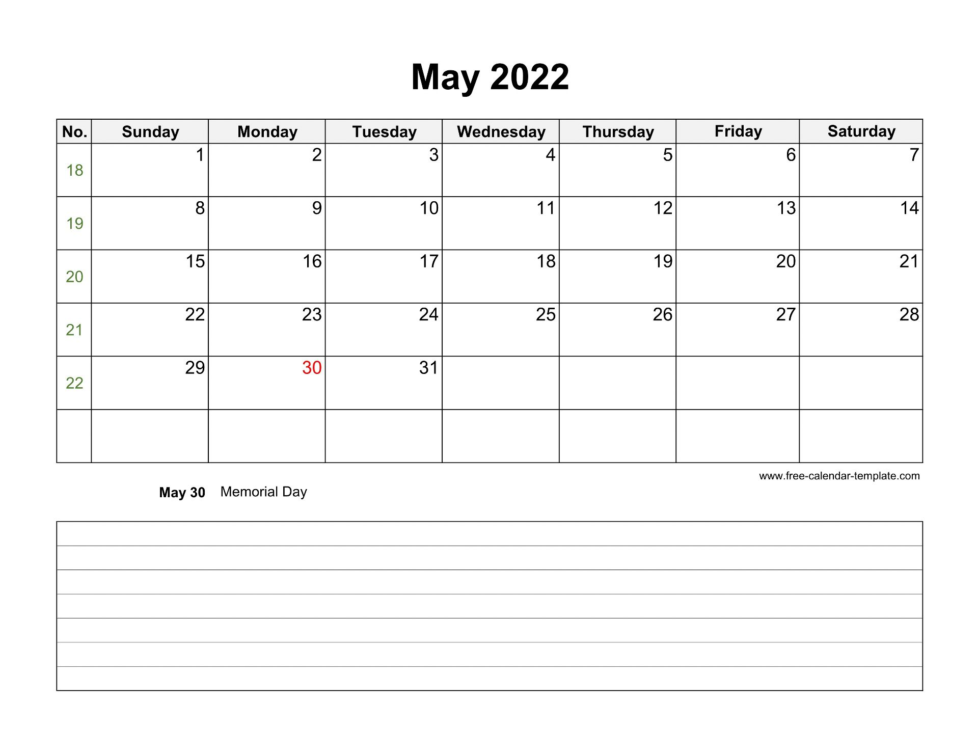Planning for the future can be a difficult and stressful process. 2022 Printable May Calendar with space for appointments ...