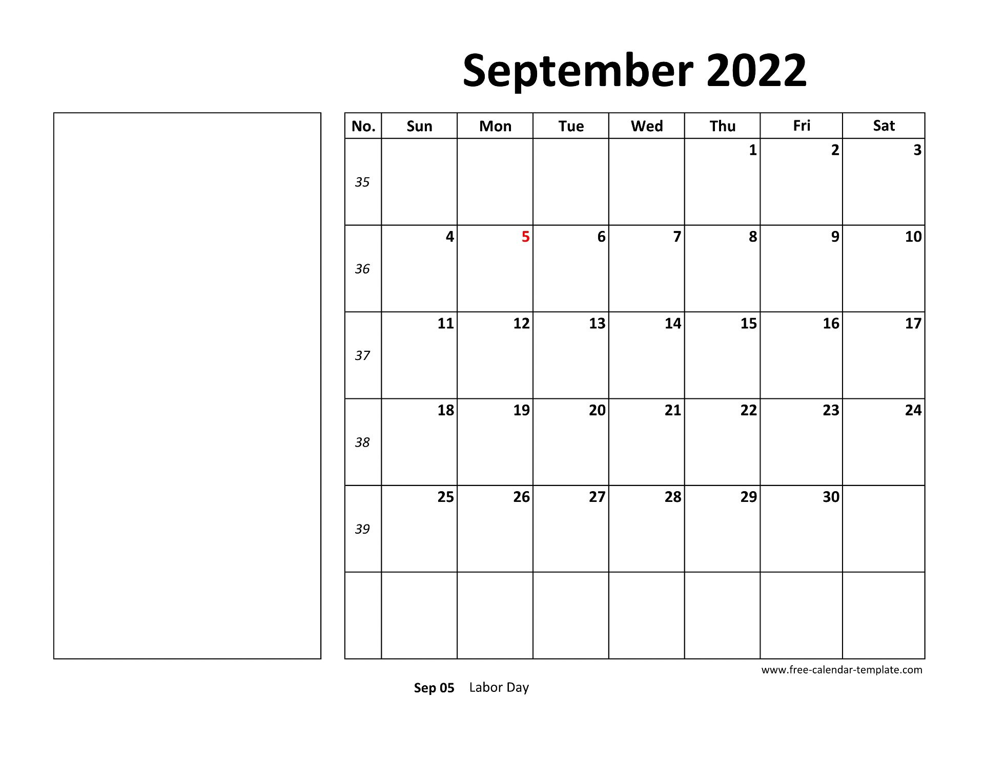 All of you users can easily check the holiday of the templates of such printable calendar, as well as mark all the holidays of the month in this calendar, after that, the fixed time and day of all your plans. Printable September 2022 Calendar (box and lines for notes ...