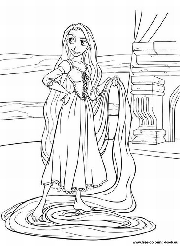 Coloring Pages Tangled Disney Rapunzel Page 2