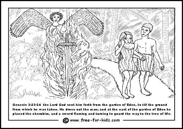 Adam And Eve Colouring Pages Www Free For Kids Com