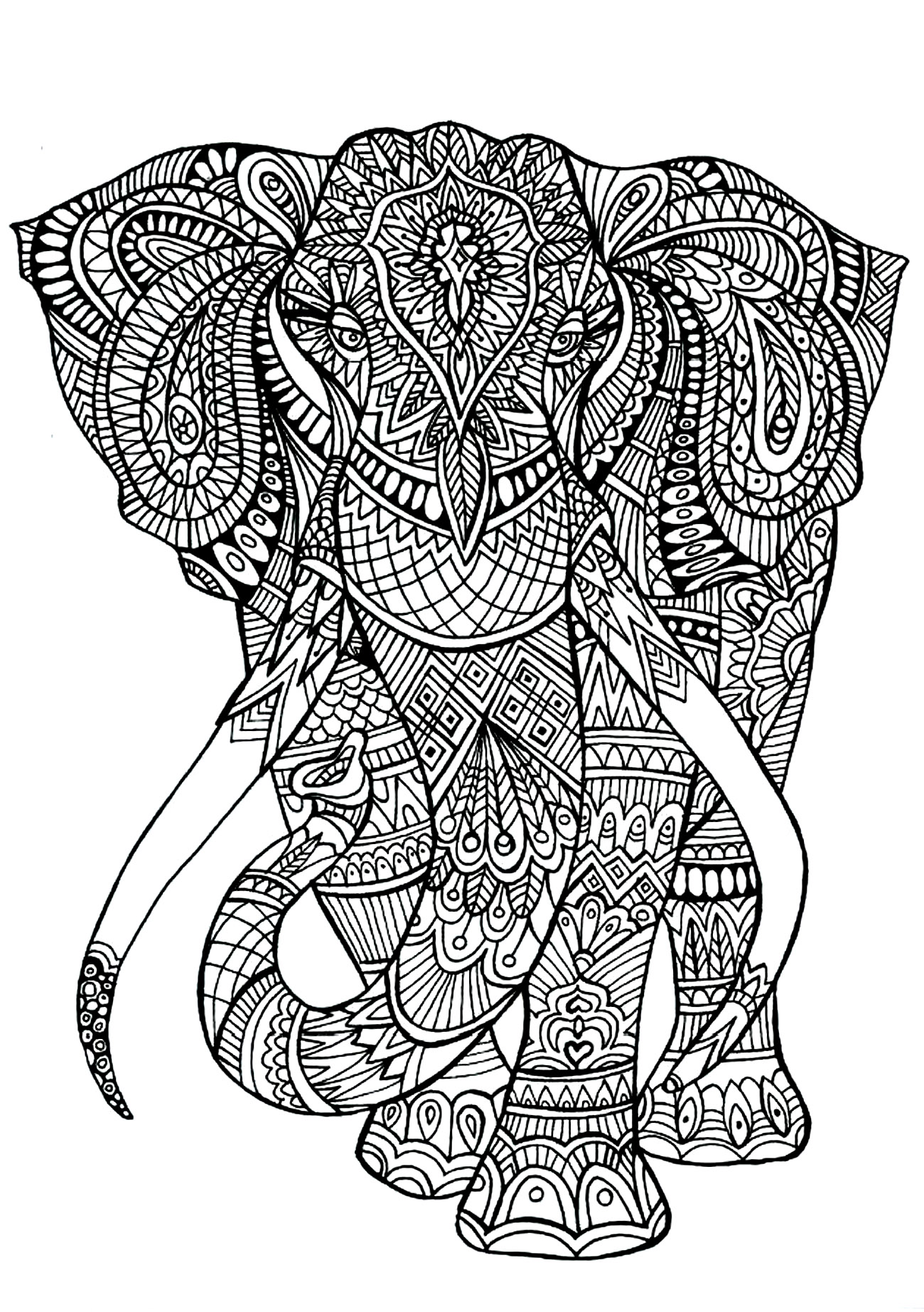 Elephant Animals Coloring Pages 100 Mandalas Zen Anti Stress