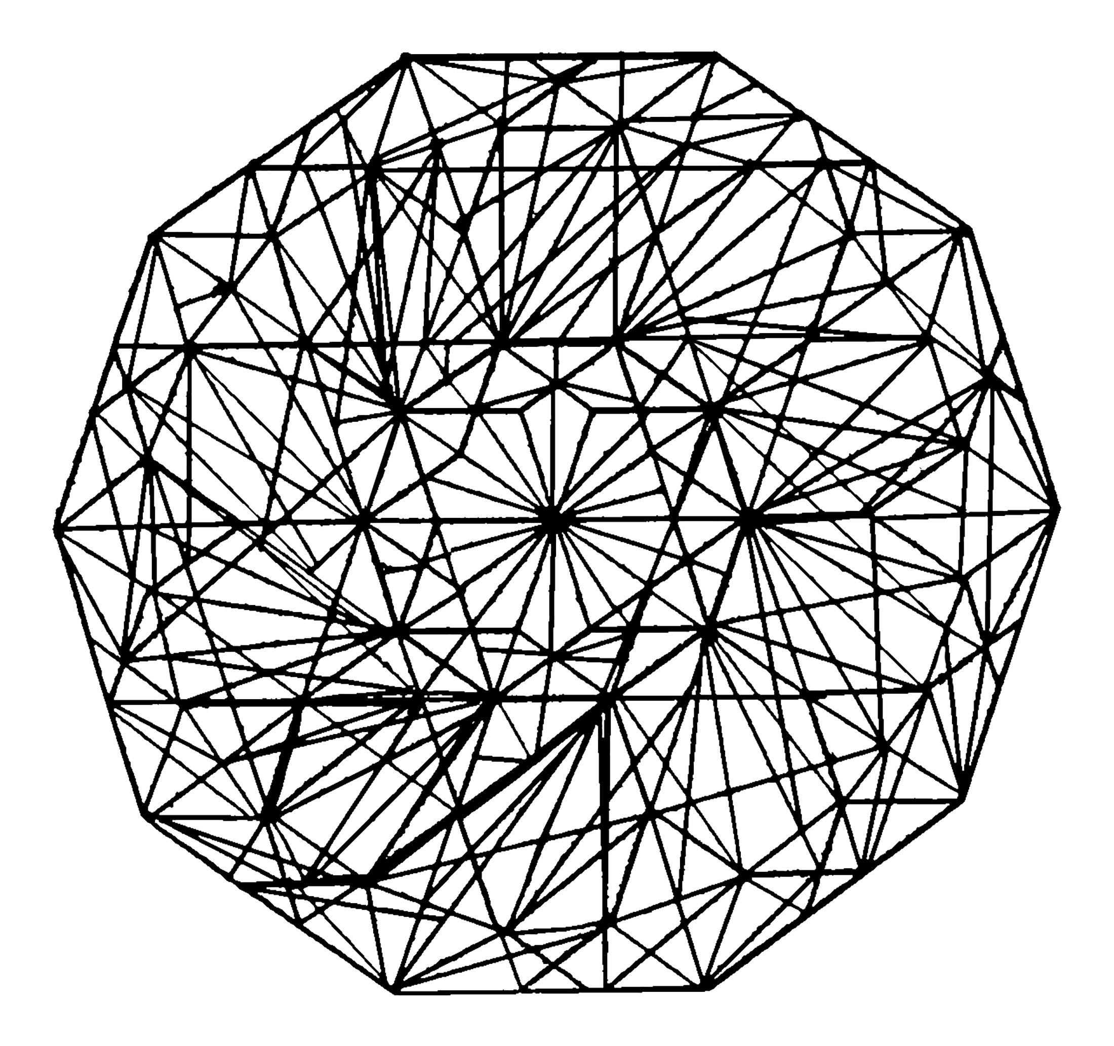 Complex Hand Drawn Mandala With Straight Lines