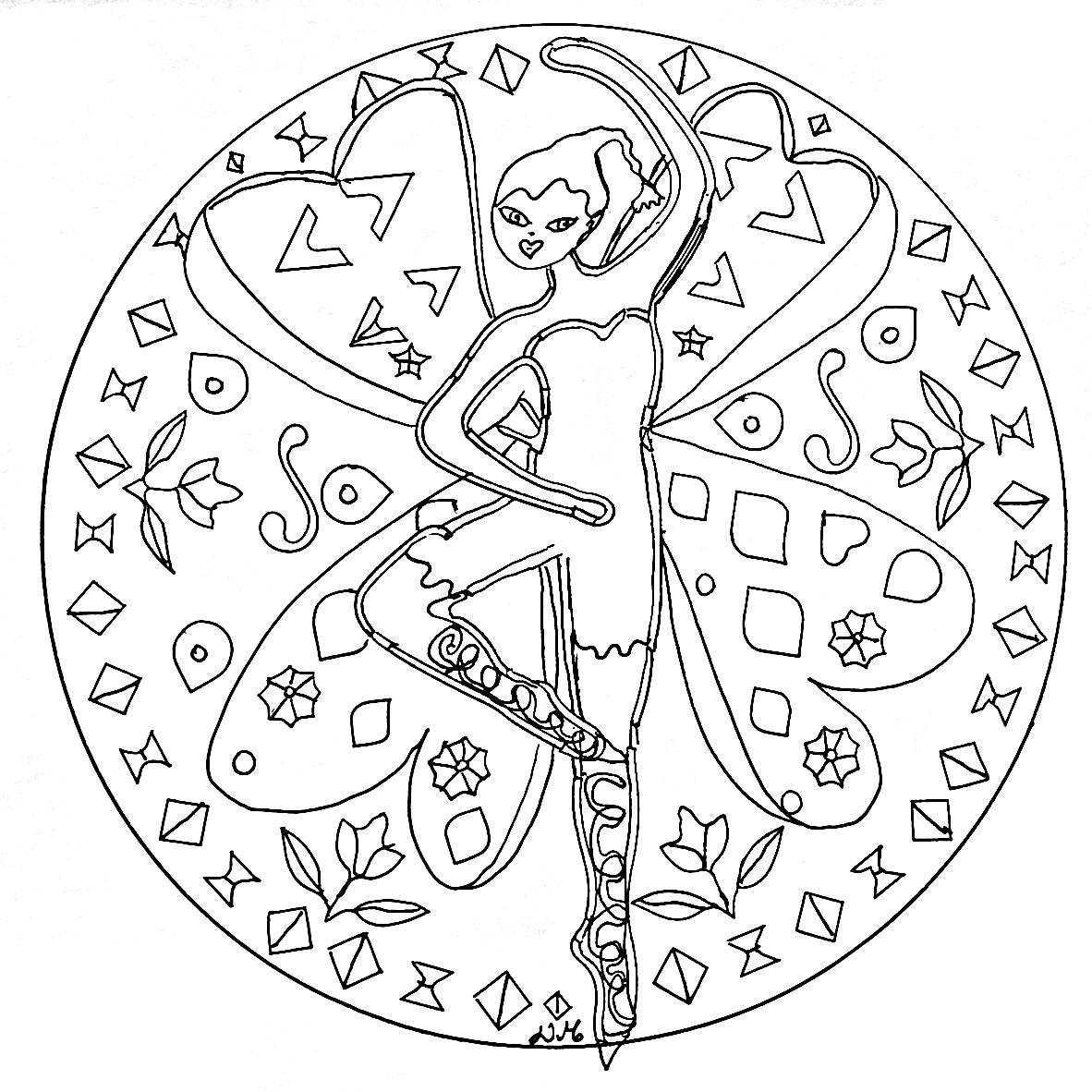Mandala To Print Dancing Fairy