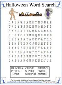 printable halloween word search first grade