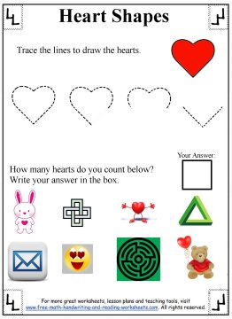 Heart Shapes Preschool Worksheets