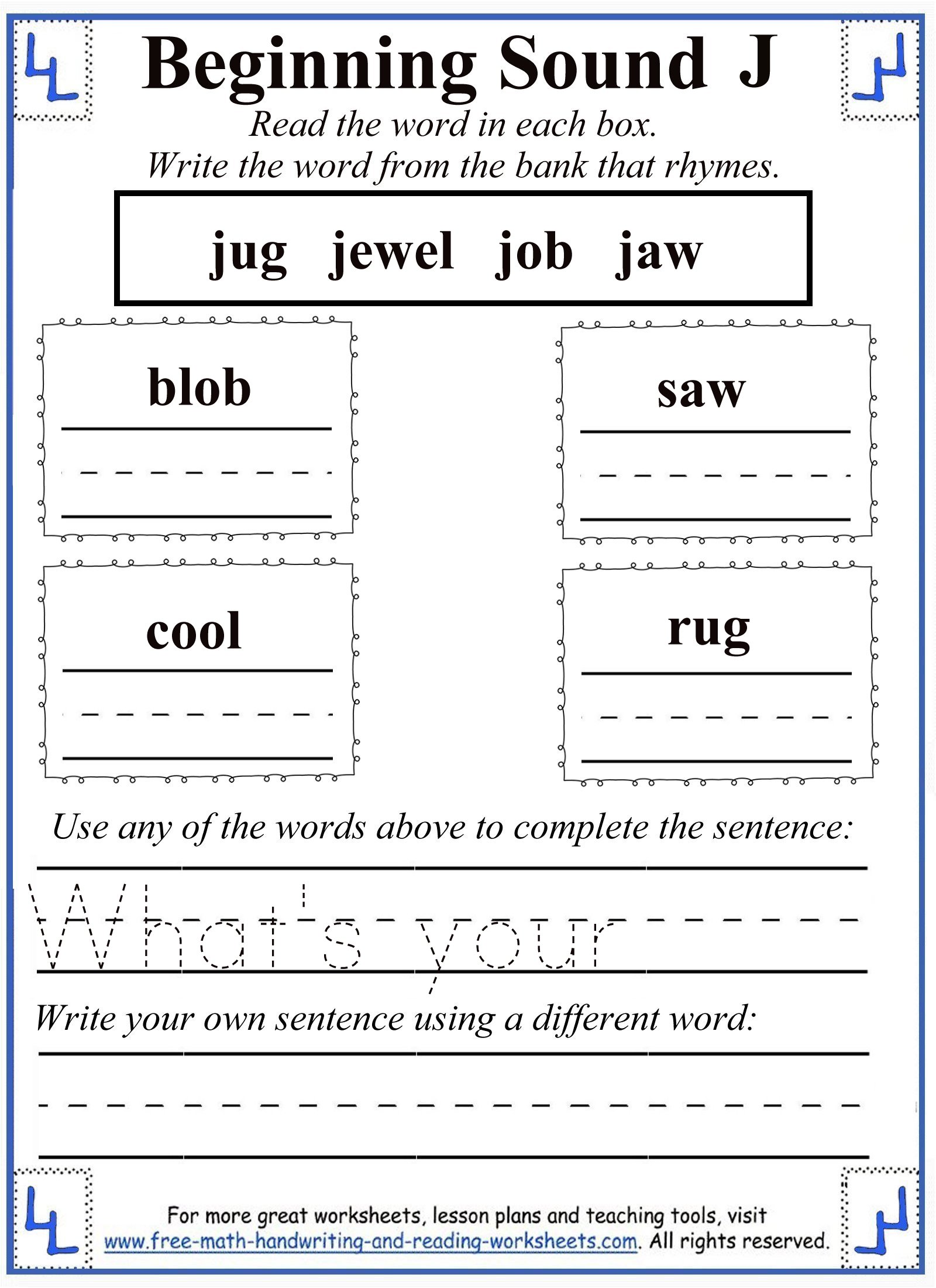Great Free Rhyming Words Worksheets For 2nd Grade