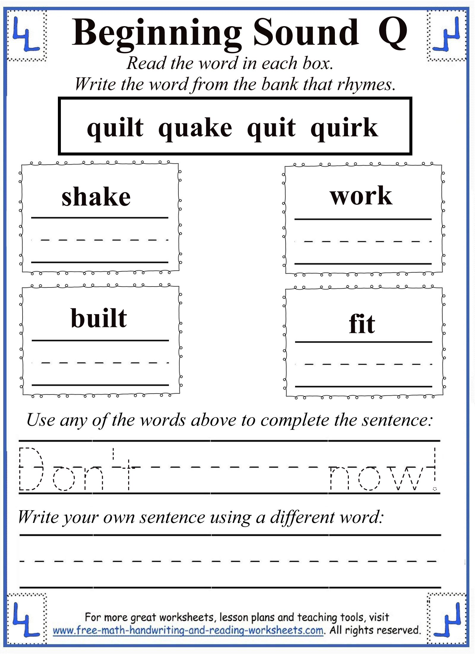 Powerpoint Presentation Kindergarten Q Words