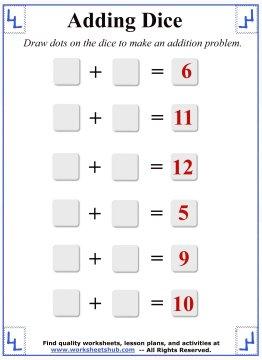 Math Addition Worksheets Adding Dice