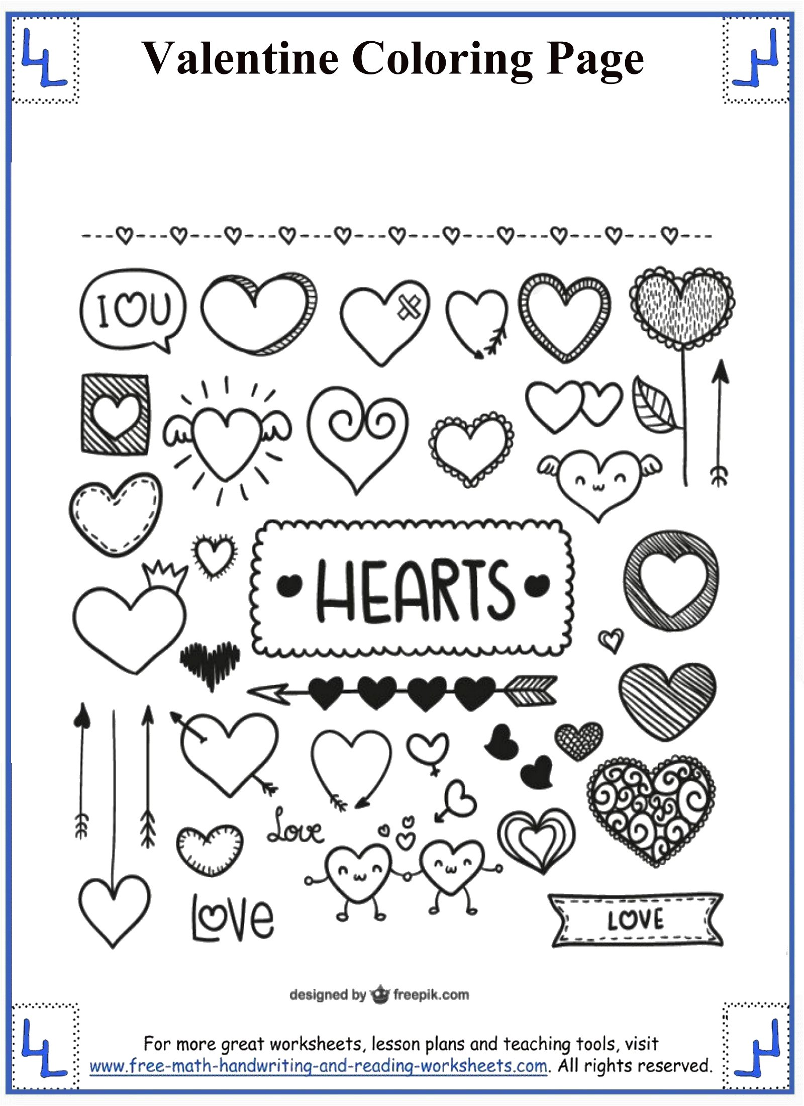 Valentine Printable Worksheet For Middle School