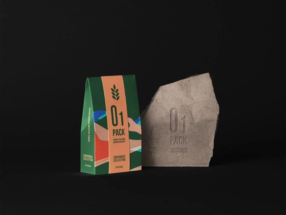 Kraft paper bag for bottles. Herbal Paper Bag Packaging Mockup Free Mockup
