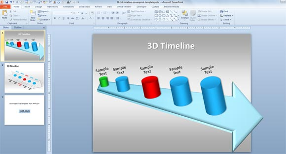 3D Timeline Template for PowerPoint 2010 You can use this realistic and impressive timeline template created with  shapes to make a presentation timeline using Microsoft PowerPoint 2010 but  also
