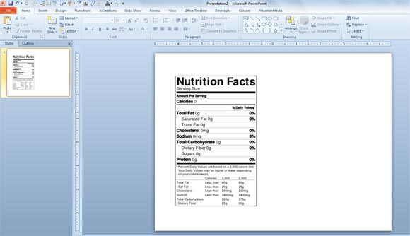 Blank Nutrition Label Template Word - FREE DOWNLOAD