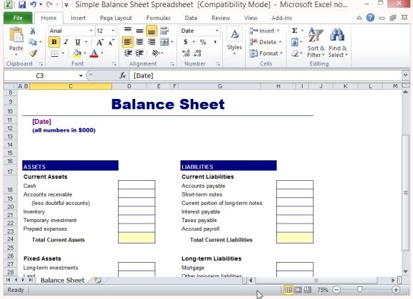 Sample Balance Sheet ...