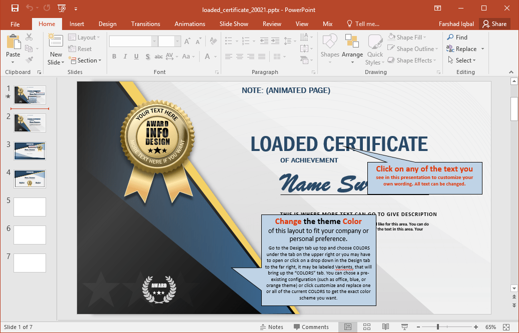 Animated Certificate PowerPoint Template Editable Certificate Layouts