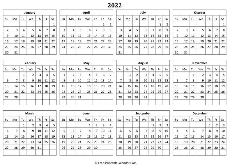 2022 printable calendars for marking down personal events or to keep track of holidays. 2022 Yearly Calendar