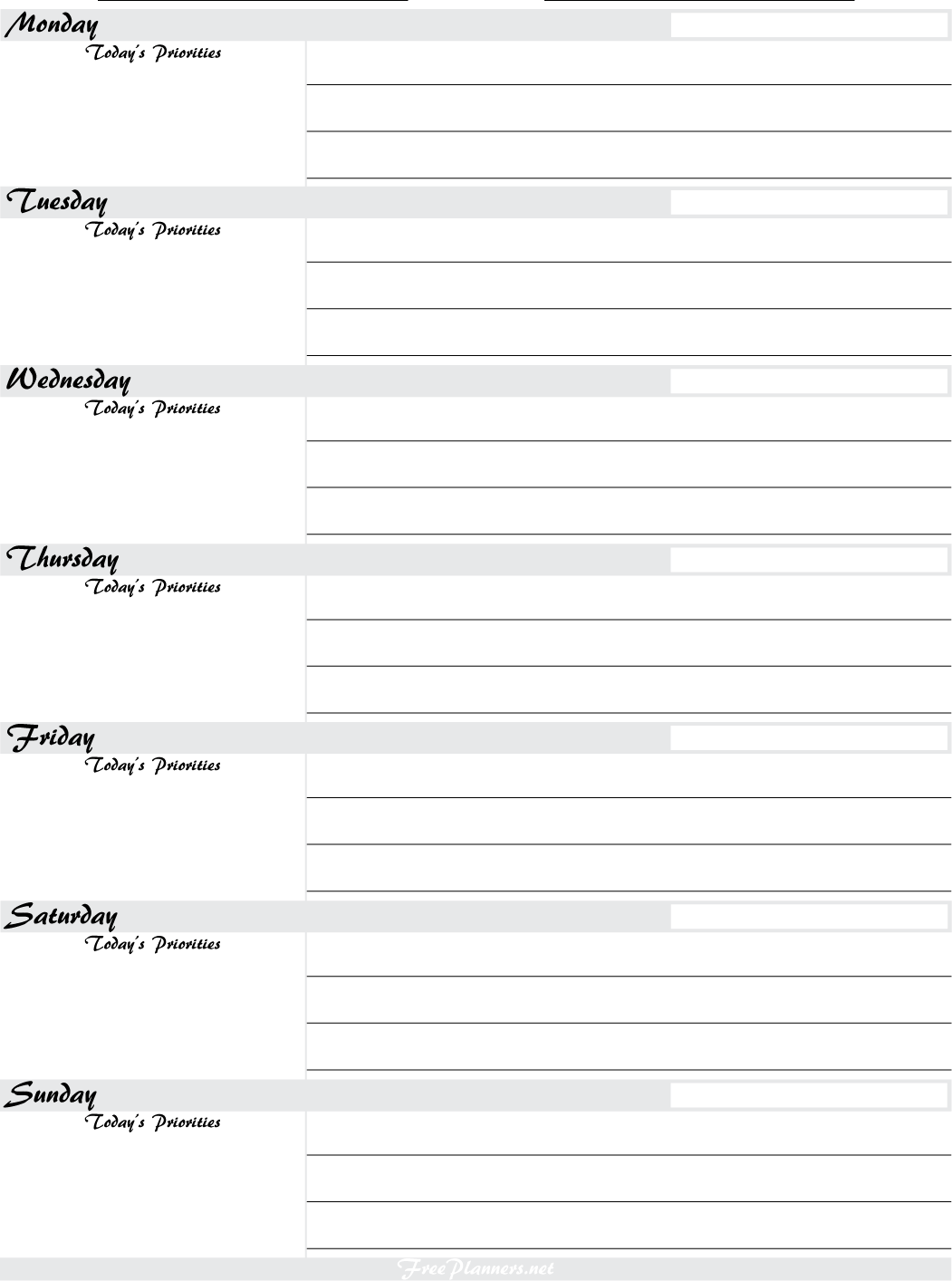 Free Printable Weekly Planners