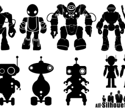 Free Robot Silhouettes Vector Art